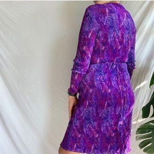 Vintage Dresses - Vintage Micropleated Wrap Dress